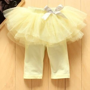 🌸 Baby Tulle Skirt Leggings Yellow Party Pants 🌸
